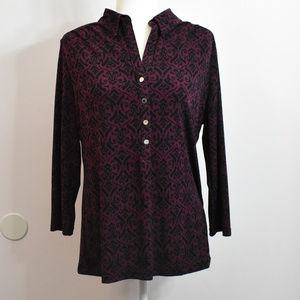 Alfani Purple Print V Neck Blouse Top Size XL